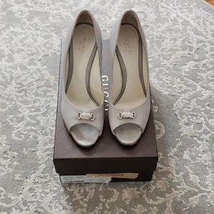 Gucci Gray Peep Toe Heels Sz 37.5